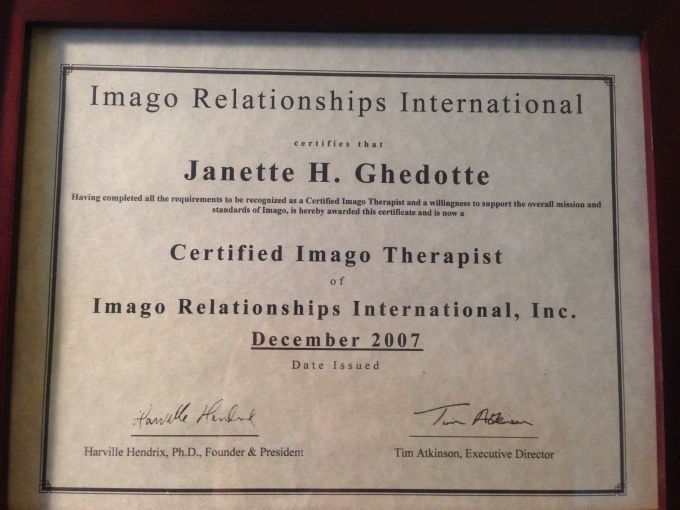 Certified Imago Relationship Therapist