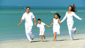 family skipping