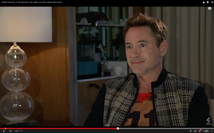 Fake smile as reporter diverts from topic of movie to Downey becoming a 'better man.'